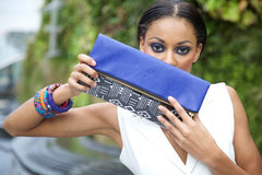 Blue | Black and white graphic print foldover clutch