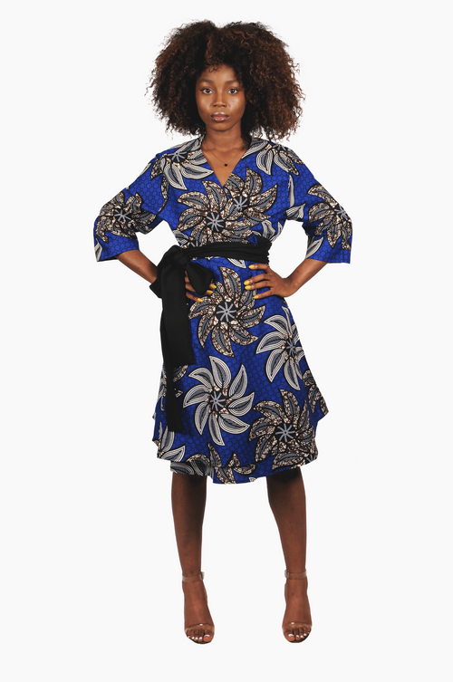Wrap Wax Print Dress with Flared Skirt -  Blue/Brown