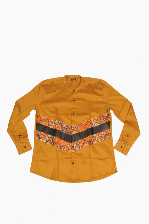Long Sleeve Shirt Leather and  Print trim - Bronze
