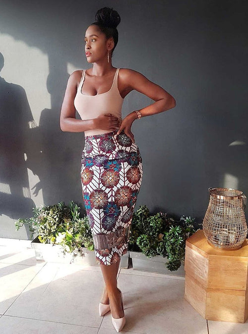 Pencil african print and plexi skirt