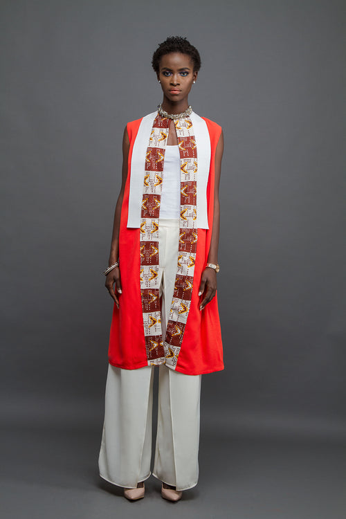 Orange tunic with white leather and Bogolan print panel