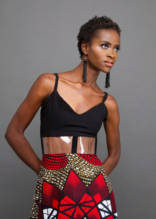 Black maxi with see through band & African wax print