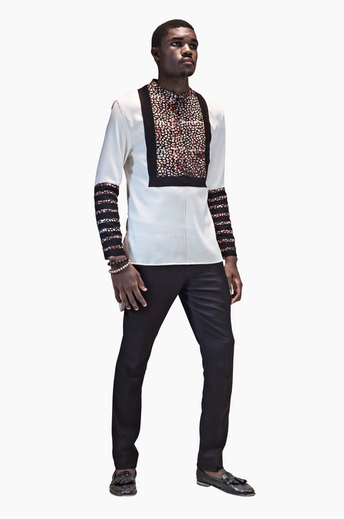 Tunic- White Long Sleeve Shirt with Batik stripes