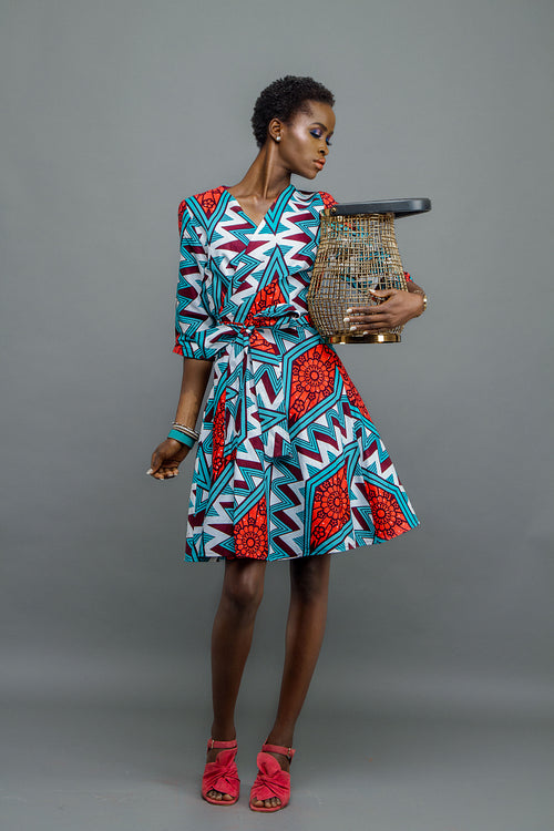Wrap dress with flared skirt - wax print aqua and red