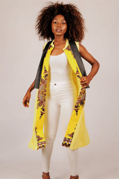 Tunic with dashiki print and black leather