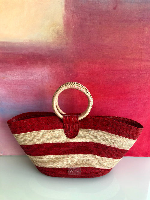 Woven tote bag - red multi