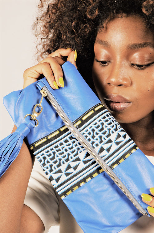 Fold over leather clutch/ pouch with African print detail - Blue