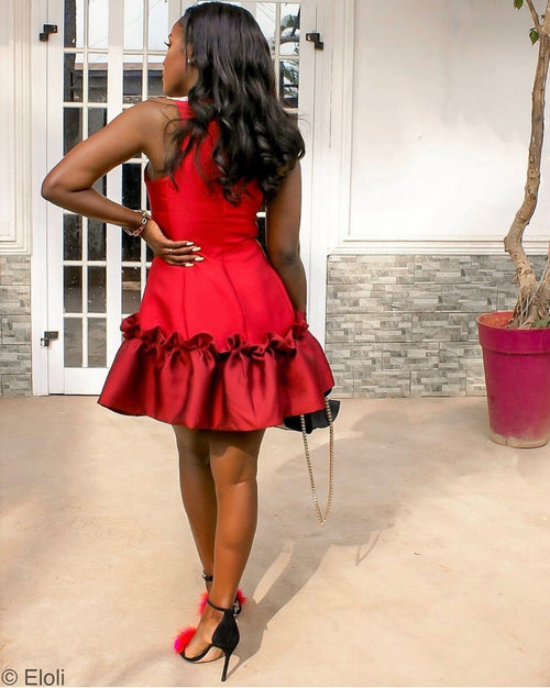 Miss ruffles short ruffle hem dress - red