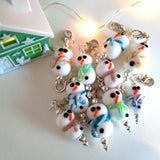 Snowman glass stitch marker