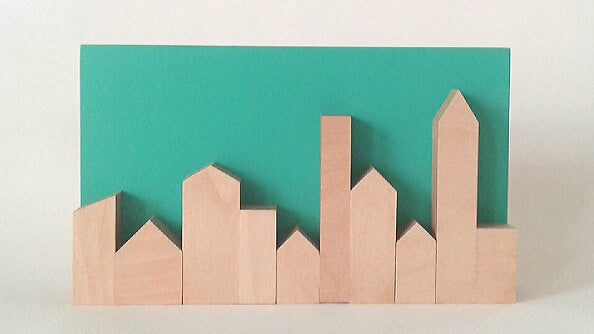 Zero Waste Turquoise Skyline in Plywood