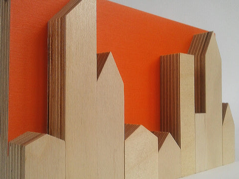 Zero Waste Bright Orange Skyline in Plywood