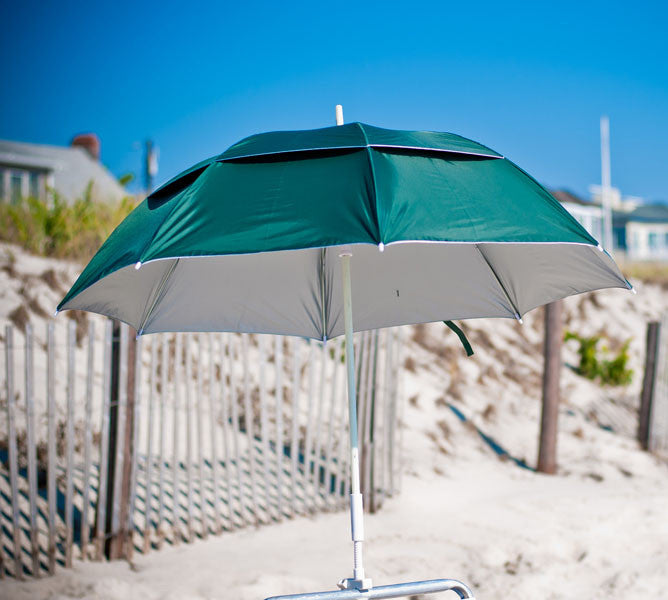 Forest Green with silver interior clamp-on umbrella