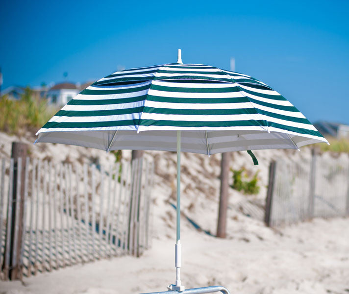 Forest Green Stripe clamp-on solar umbrella