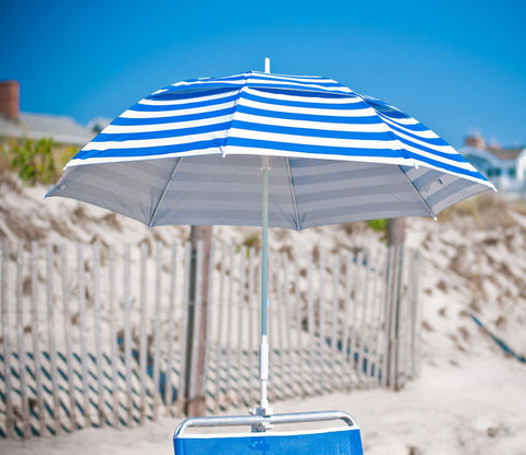 Pacific Blue Stripe clamp-on beach umbrella
