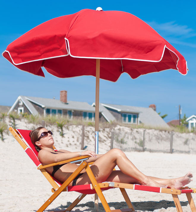 Logo Red beach chair and Sunbrella umbrella
