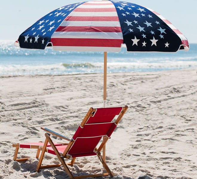 Logo Red beach chair and 7.5Ft American Flag Sunbrella umbrella