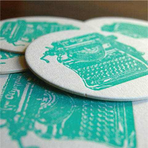 Antique Typewriter Teal Coaster