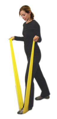 CanDo Latex Free Exercise Band - 4' length, 5-piece set (1 each: yellow, red, green, blue, black) - onlinesportsmall