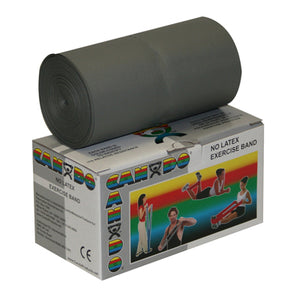CanDo Latex Free Exercise Band - 6 yard roll - Silver - xx-heavy - onlinesportsmall