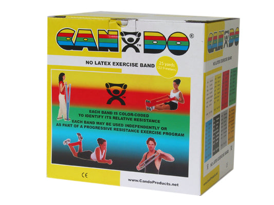 CanDo Latex Free Exercise Band - 25 yard roll - Yellow - x-light - onlinesportsmall