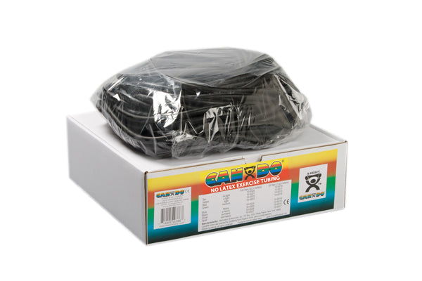CanDo Latex Free Exercise Tubing - 100' dispenser roll - Black - x-heavy - onlinesportsmall