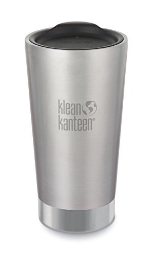 Klean Kanteen 16oz Stainless Steel Tumbler Cup, Double Wall Vacuum Insulated and Lid - Brushed Stainless - onlinesportsmall