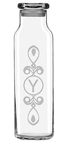 Susquehanna Glass AZ-0336-3129-Y Letter Y Personalized Scroll Water Bottle, 24 oz, Clear - onlinesportsmall