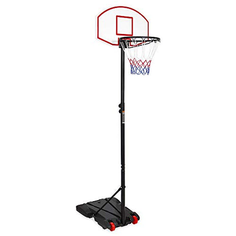 Best Choice Products Kids Portable Height-Adjustable Sports Basketball Hoop Backboard System Stand w/Wheels - Black - onlinesportsmall