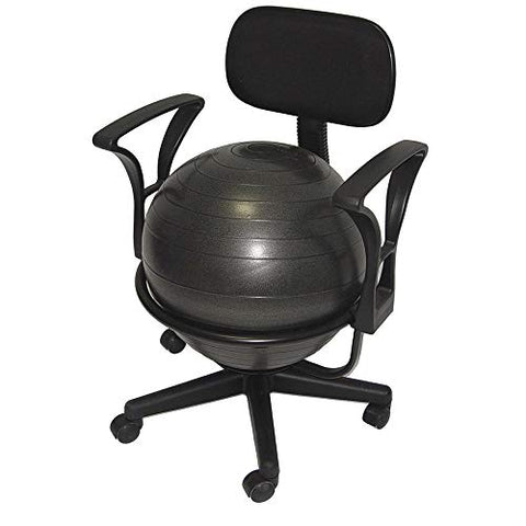Aeromats Deluxe Fitness Ball Chair in Black (Pack of 2) - onlinesportsmall