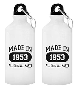 ThisWear 65th Birthday Gifts for Women Made 1953 All Original Parts Funny 65th Birthday Gifts for Mom Gift 2-Pack 20-oz Aluminum Water Bottles with Carabiner Clip Top White - onlinesportsmall