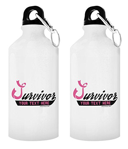 Personalized Breast Cancer Gift Survivor with Your Custom Year or Text Pink Ribbon Survivor In Honor of Your Name Personalized Gift 2-Pack 20-oz Aluminum Water Bottles with Carabiner Clip Top White - onlinesportsmall