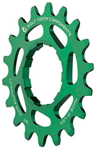 "Wolf Tooth Components Single Speed Aluminum Cog: 19T, Compatible with 3/32"" Chains, Green - onlinesportsmall"