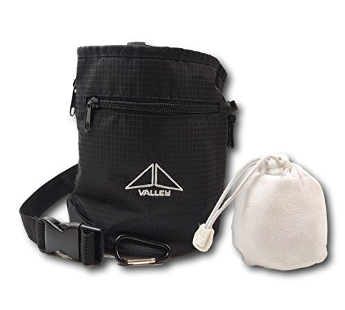 Valley Climbing Chalk Bag with Chalk Ball, Belt, Carabiner Clip and Zippered Pockets for Climbing, Bouldering, Gymnastics, Cross Fit and Lifting - onlinesportsmall