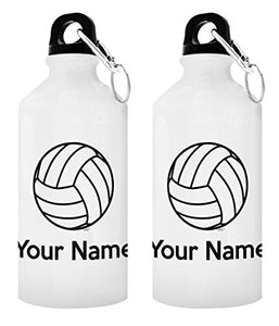Personalized Volleyball Gifts Customized Volleyball Water Bottle Personalized Gift 2-Pack 20-oz Aluminum Water Bottles with Carabiner Clip Top White - onlinesportsmall