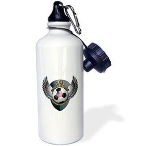 3dRose wb_158044_1 USA Soccer Ball with Crest Team Football America American United States Sports Water Bottle, 21 oz, White - onlinesportsmall
