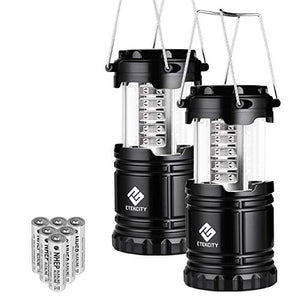 Etekcity 2 Pack Portable LED Camping Lantern Flashlights with 6 AA Batteries - Survival Kit for Emergency, Hurricane, Outage (Black, Collapsible) (CL10) - onlinesportsmall