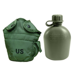 Military Outdoor Clothing Previously Issued U.S. G.I. 1 quart Olive Drab Military Canteen Nylon Cover with Never Issued 1 quart Olive Drab Canteen - onlinesportsmall