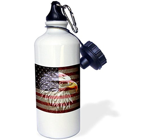 3dRose wb_116181_1  Ornate Patriotic Bald Eagle and USA American Flag Pride Great for Fourth Of July Independence Day  Sports Water Bottle, 21 oz, White - onlinesportsmall
