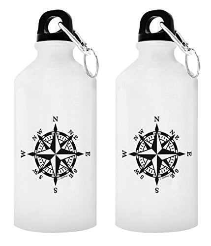 Camping Gifts for Men Nautical Compass Hiking Compass Cruise Gifts for Women Nautical Water Bottle Retirement Gifts for Travel Gift 2-Pack Aluminum Water Bottles with Cap & Sport Top White - onlinesportsmall