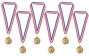 Juvale Gold Medals - 6-Pack Metal Olympic Style Winner Awards, Perfect for Sports, Competitions, Spelling Bees, Party Favors, 2.75 Inches Diameter with 16.3 Inch USA Ribbon - onlinesportsmall