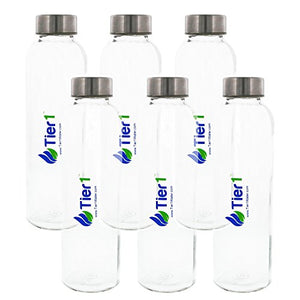 Tier1 .5 Liter Reusable Glass Beverage Bottles (6-Pack) - onlinesportsmall