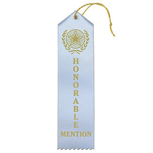 Honorable Mention Premium Award Ribbons with Card & String (Light Blue) - 25 Count Value Bundle - Metallic Gold foil Print – Made in The USA - onlinesportsmall