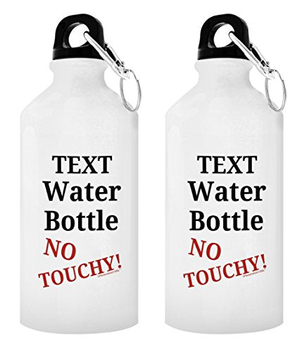 Personalized Water Bottle Your Name's Mug No Touchy Besties Gifts Best Friend Gifts for Best Friend Personalized Gift 2-Pack 20-oz Aluminum Water Bottles with Carabiner Clip Top White - onlinesportsmall