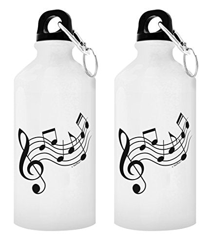 Music Related Gifts Music Note Water Bottle Jazz Musician Gifts Music Gift Ideas Guitarist Gifts Musician Gifts 2-Pack Aluminum Water Bottles with Cap & Sport Top White - onlinesportsmall