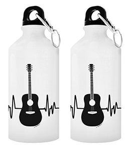 Guitar Related Gifts Acoustic Guitar Heartbeat Guitar Water Bottle Music Gift Ideas Guitarist Gifts Musician Gifts 2-Pack Aluminum Water Bottles with Cap & Sport Top White - onlinesportsmall