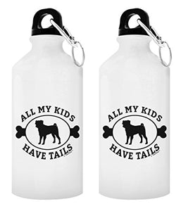 ThisWear Pug Mug All My Kids Have Tails Pug Rescue Gift Pug Puppy Gift 2-Pack 20-oz Aluminum Water Bottles with Carabiner Clip Top White - onlinesportsmall