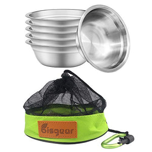 Bisgear 6pcs Backpacking Camping Stainless Steel 6 inch Bowl + Carabiner + Dishcloth Mess Kit Set with Mesh Travel Bag Lightweight Dinnerware Round BPA Free Serving Bowls for Outdoor Bug Out Picnic - onlinesportsmall