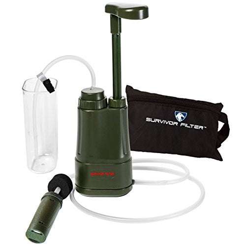 Survivor Filter PRO – Virus and Heavy Metal Tested 0.01 Micron Portable Water Filter for Camping, Hiking and Emergency. 3 Stages - 2 Cleanable 100,000L UF Membranes and a Carbon Filter. - onlinesportsmall