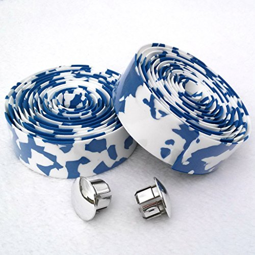 KINGOU White & Blue Camouflage EVA Road Bike Handlebar Tape Cycling Bar Tapes - 2PCS Per Set - onlinesportsmall