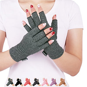 Arthritis Compression Gloves Relieve Pain from Rheumatoid, RSI,Carpal Tunnel, Hand Gloves Fingerless for Computer Typing and Dailywork, Support for Hands and Joints (Gray, Large) - onlinesportsmall